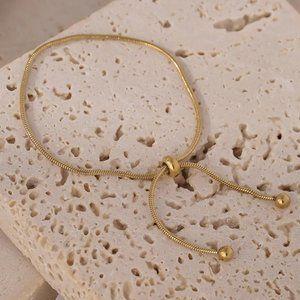 NEW 18K Gold Plated Snake Chain Bead Adjustable Bracelet